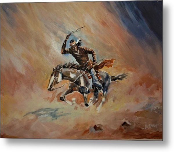 A Dash For Cover Racing Oncoming Sandstorm   Metal Print