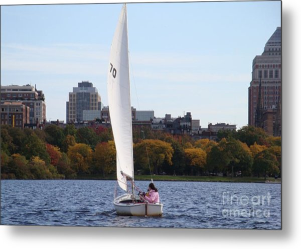 a day on the Charles Metal Print by Robyn Leakey