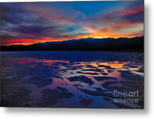 A Death Valley Sunset In The Badwater Basin Metal Print by Kim Michaels