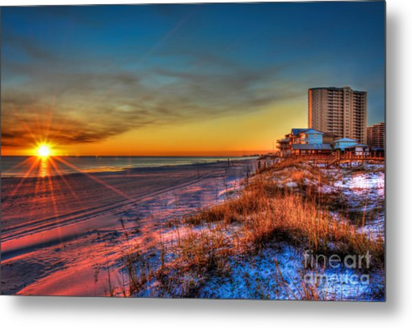 A December Beach Sunset Metal Print