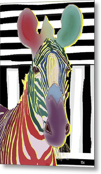 A Different Zebra Metal Print