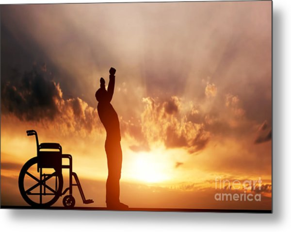 A Disabled Man Standing Up From Wheelchair Metal Print