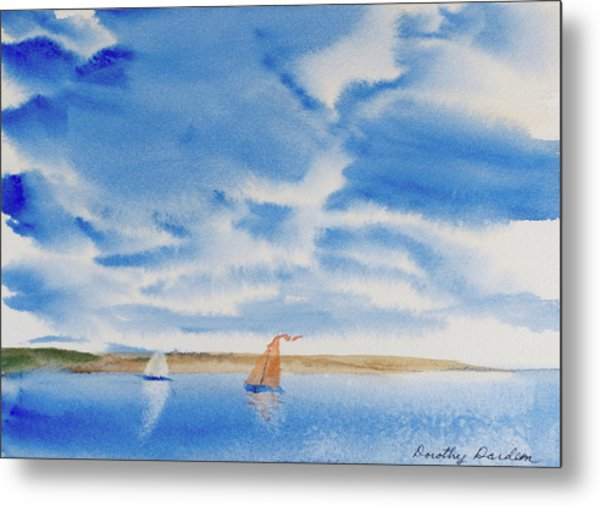 A Fine Sailing Breeze On The River Derwent Metal Print