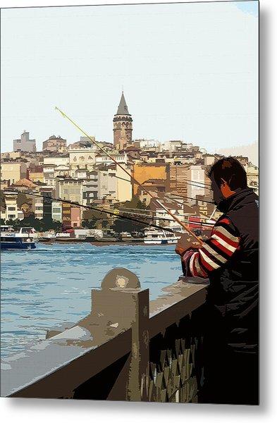 A Fisherman In Istanbul Metal Print