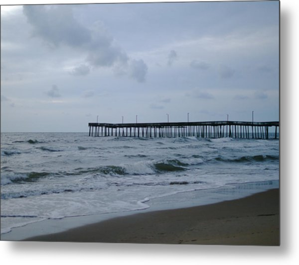 A Fishing Pier At Dawn Metal Print