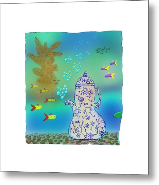 A Fishy Tea Pot Metal Print
