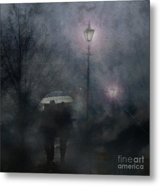 A Foggy Night Romance Metal Print