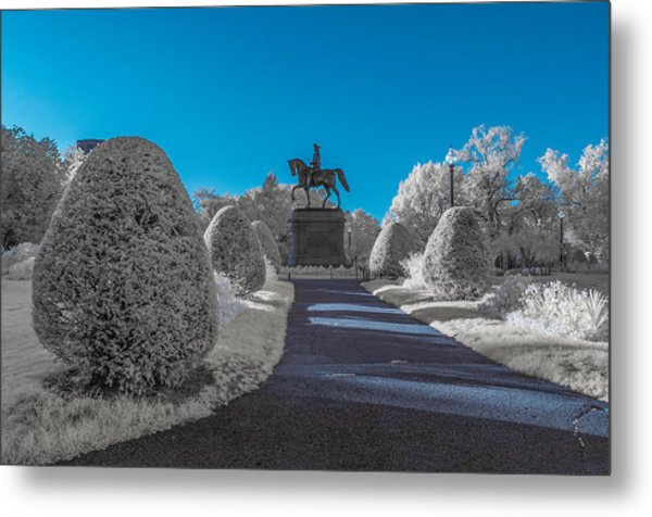 A Frosted Boston Public Garden Metal Print