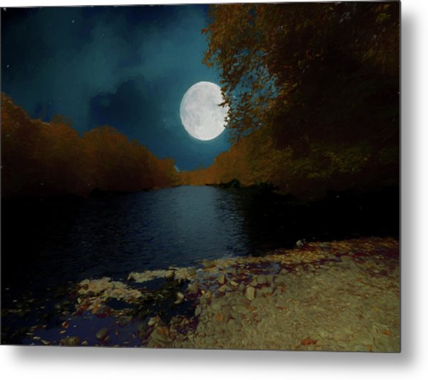 A Full Moon On A River. Metal Print