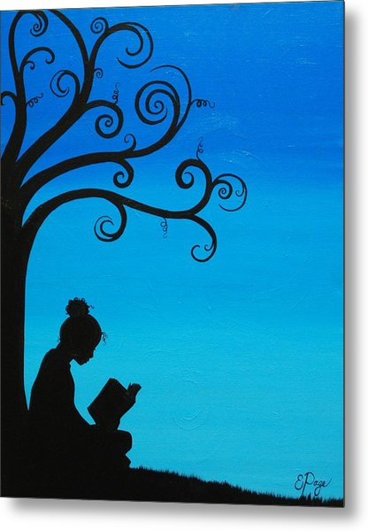 A Girl And Her Book Metal Print