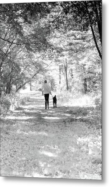 A Girl And Her Dog Metal Print