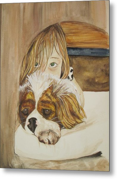 A Girl And Her Puppy Metal Print by Tabitha Marshall