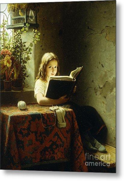 A Girl Reading Metal Print