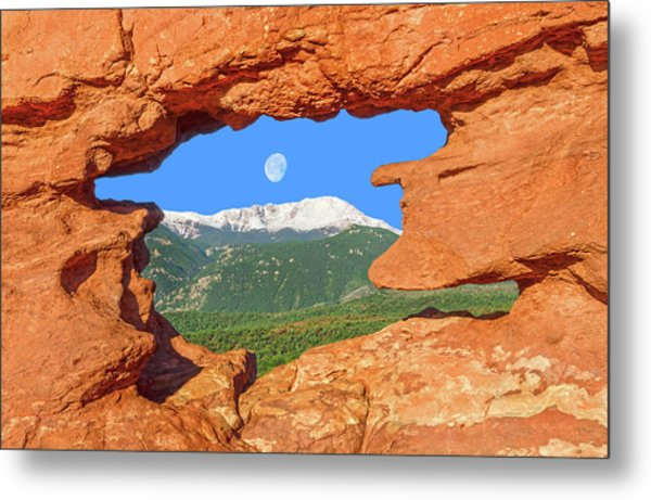 A Glimpse Of The Mighty Rockies Through A Rocky Window  Metal Print