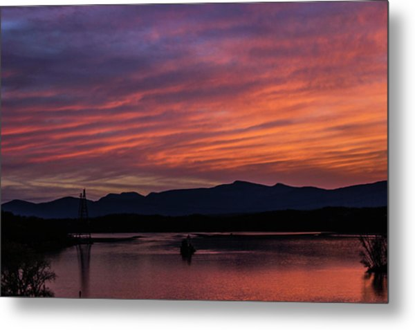 Metal Print featuring the photograph A Glowing Sunset Over The Catskill Mountains by Jessica Tabora