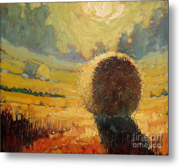 A Hay Bale In The French Countryside Metal Print