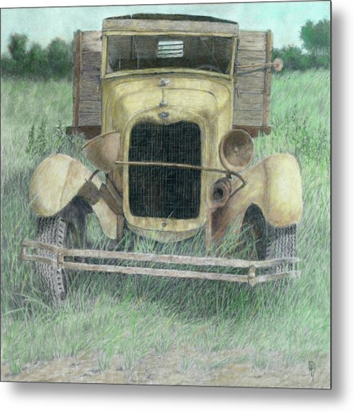 A Little Loopy Colorized Metal Print