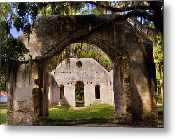 Metal Print featuring the photograph A Look Into The Chapel Of Ease St. Helena Island Beaufort Sc by Lisa Wooten
