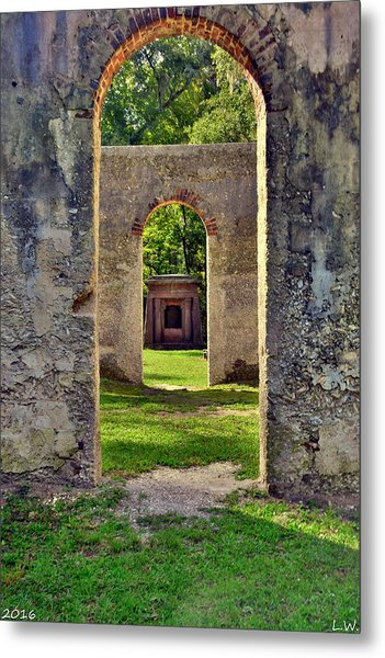 Metal Print featuring the photograph A Look Through Chapel Of Ease St. Helena Island Beaufort Sc by Lisa Wooten