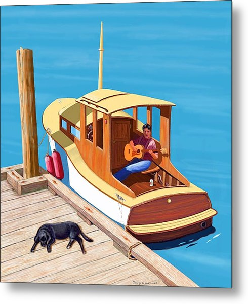 A Man, A Dog And An Old Boat Metal Print