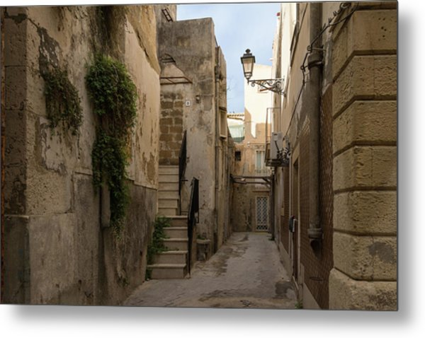 A Marble Staircase To Nowhere - Tiny Italian Lane In Syracuse Sicily Metal Print
