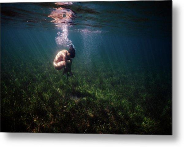A Mermaid In A Sea Of Coral Metal Print
