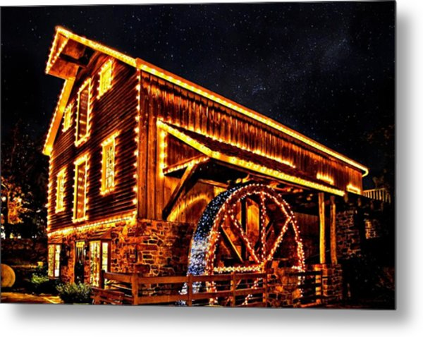 A Mill In Lights Metal Print