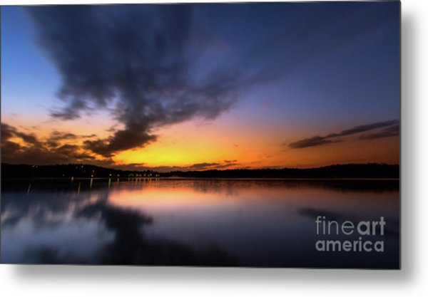 A Misty Sunset On Lake Lanier Metal Print