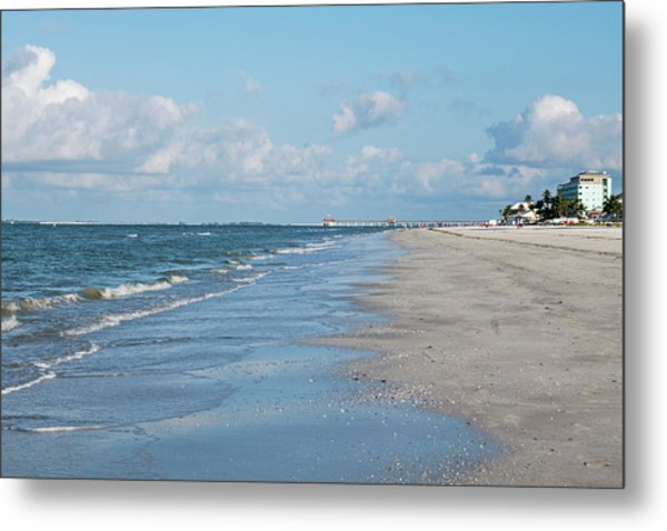 A Morning Walk On Fort Myers Beach Fort Myers Florida Metal Print