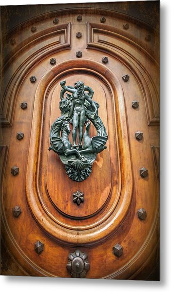 A Most Unusual Door Knocker In Geneva Old Town  Metal Print
