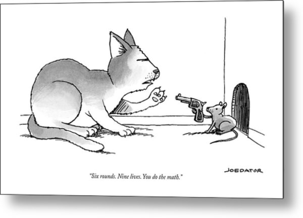 A Mouse Is In Front Of A Mouse Hole Pointing Metal Print