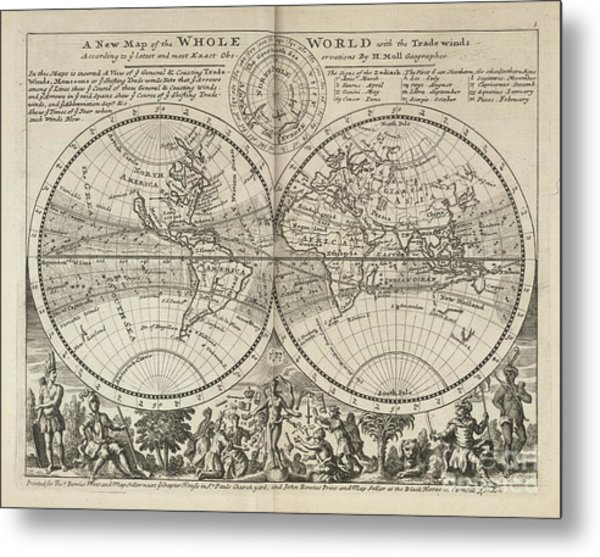 A New Map Of The Whole World With Trade Winds Herman Moll 1732 Metal Print