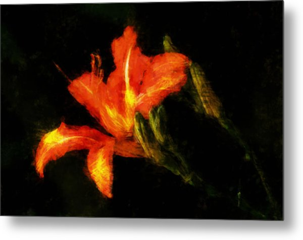 A Painted Lily Metal Print