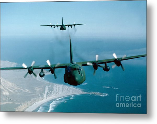 A Pair Of C-130 Hercules In Flight Metal Print