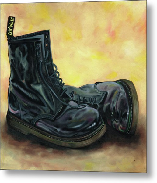 A Pair Of Patent Dr Martens 2 Metal Print