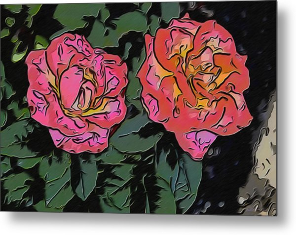 A Parrot And A Tiger Or Two Roses Metal Print