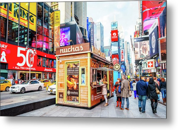 A Portable Food Stand In New York Times Square Metal Print