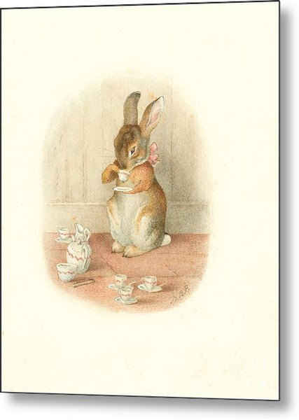 A Rabbit's Tea Party Metal Print
