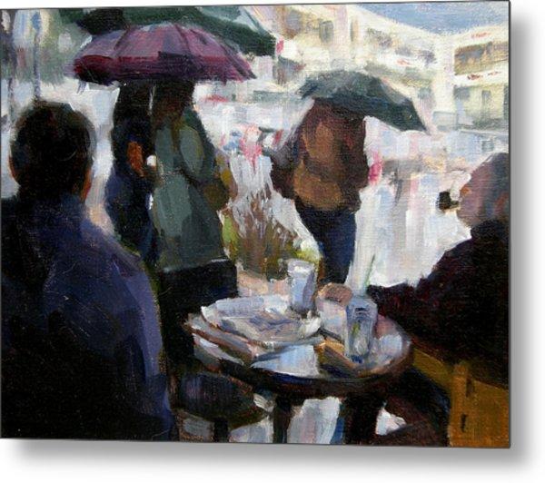 A Rainy Day At Starbucks Metal Print by Merle Keller