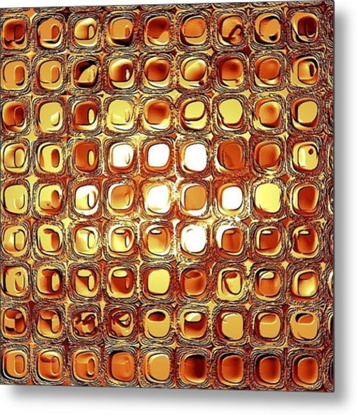 A Rectangle Of Repeating Reflective Rectilinear Reliefs Metal Print