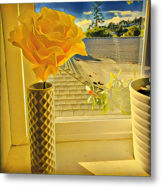 A Rose Is A Rose Electric Metal Print