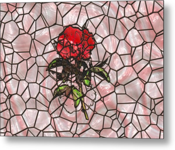 A Rose On Stained Glass Metal Print