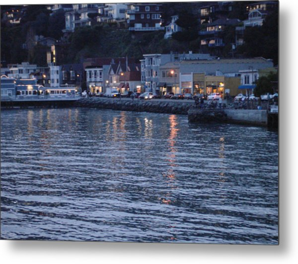 A Scenery Of Sausalito At Dusk Metal Print