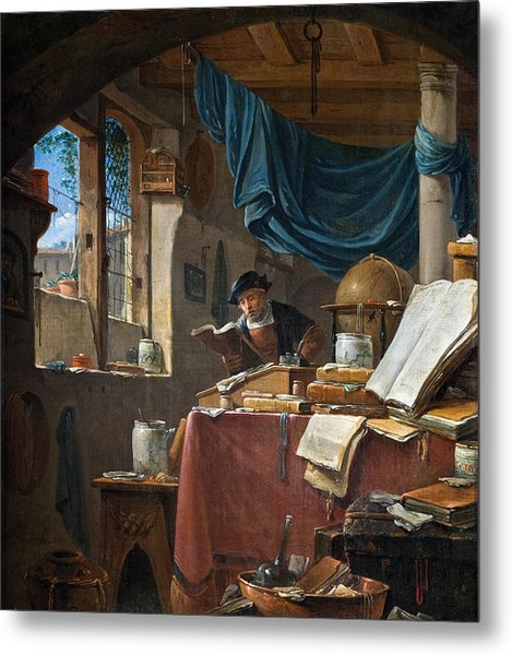 A Scholar In His Study Metal Print