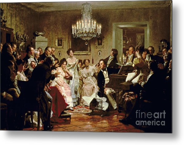 A Schubert Evening In A Vienna Salon Metal Print