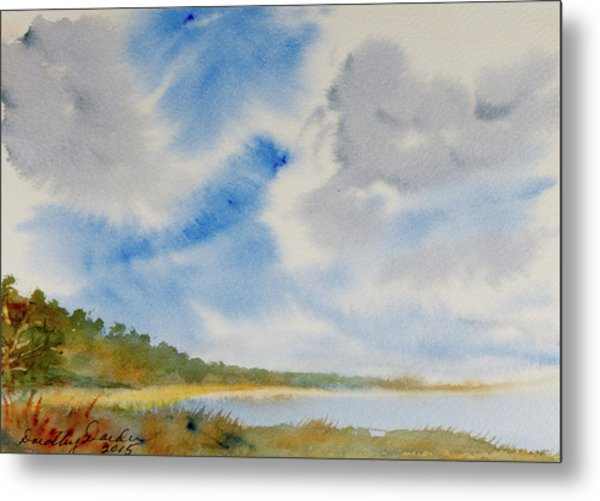 A Secluded Inlet Beneath Billowing Clouds Metal Print
