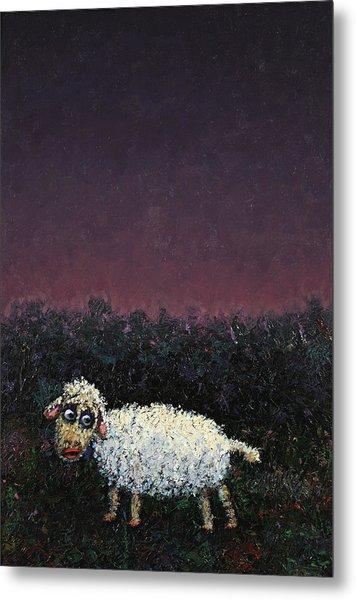 A Sheep In The Dark Metal Print