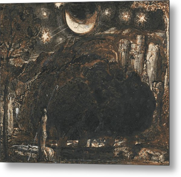 A Shepherd And His Flock Under The Moon And Stars Metal Print