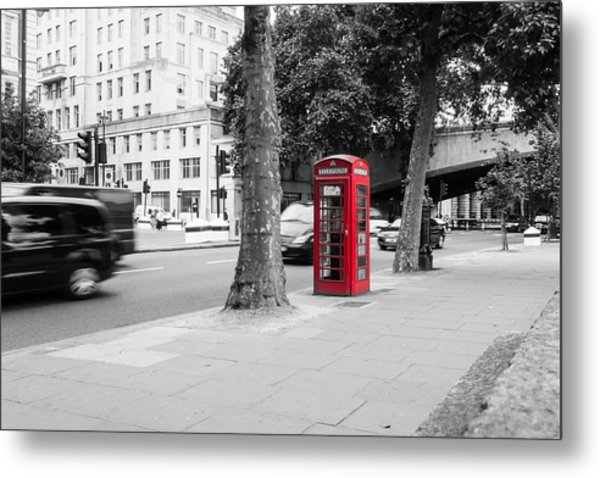 A Single Red Telephone Box On The Street Bw Metal Print