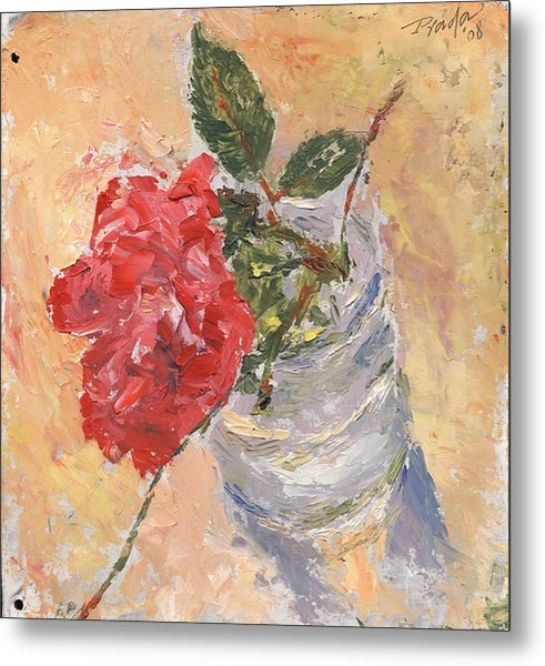 A Single Rose Metal Print by Horacio Prada